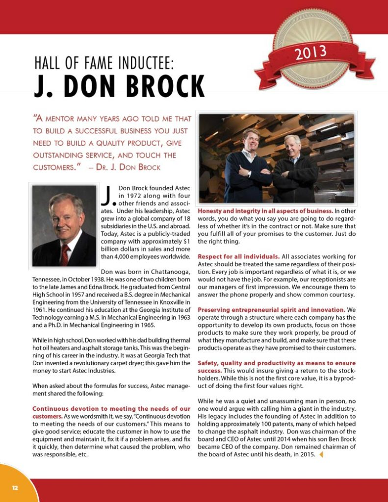 J-Don Brock 2013 Hall of Fame Inductee