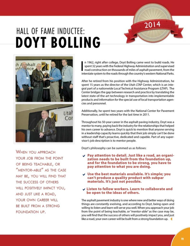 Doyt Bolling 2014 Hall of Fame Inductee