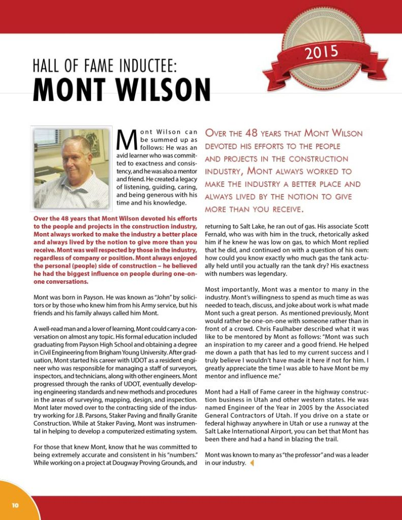 Mont Wilson 2015 Hall of Fame Inductee