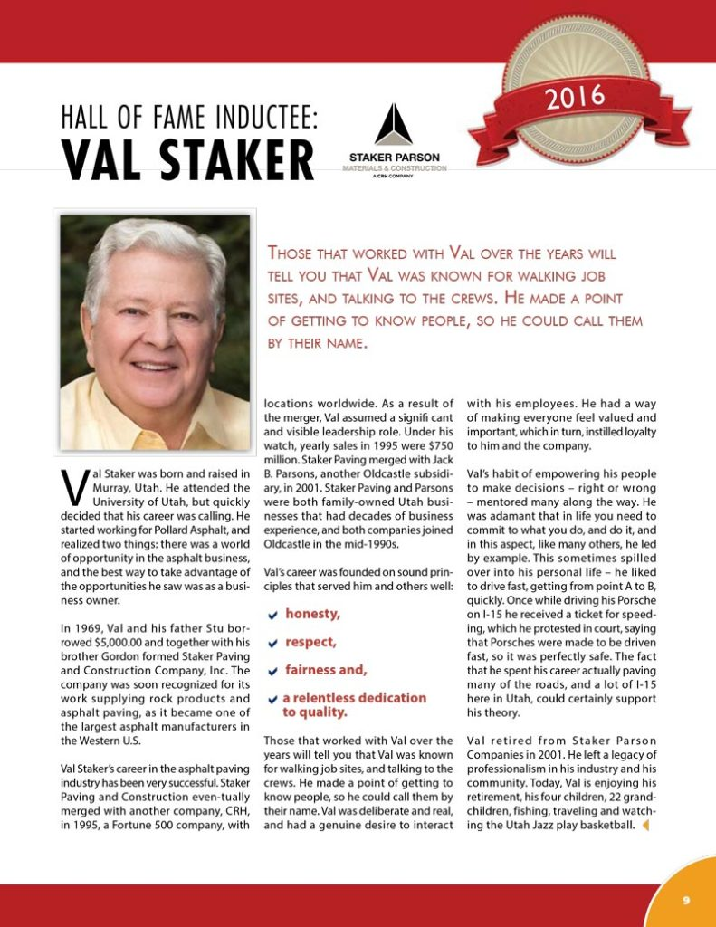 Val-Staker 2016 Hall of Fame Inductee