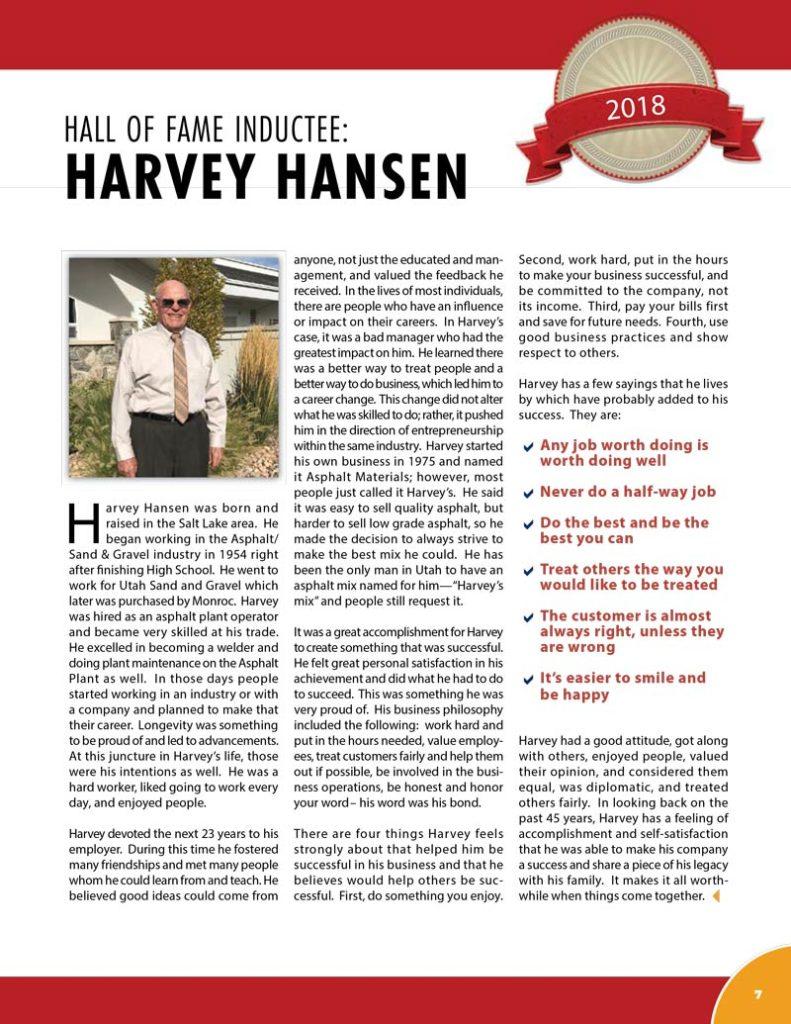 Harvey Hansen 2018 Hall of Fame Inductee