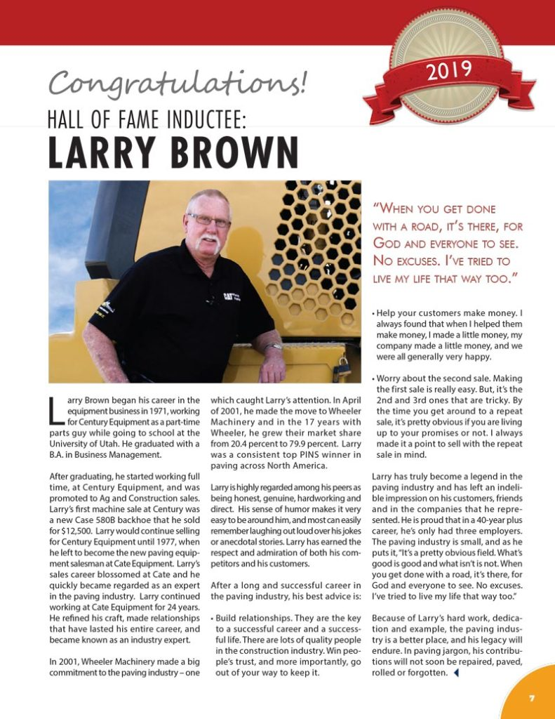 Larry Brown 2019 Hall of Fame Inductee